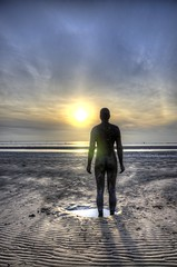 Staring At The Sun (Mortarman101) Tags: sunset sky sculpture beach metal liverpool coast hdr mersey crosby merseyside anthonygormley anotherplace