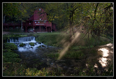 Hodgson Water Mill - Sunbeams through the Trees (Nikon66) Tags: mill waterfall nikon missouri ozarks watermill d800 ozarkcounty hodgsonwatermill 2470mmf28nikkor ©copyright