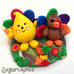 Thanksgiving Parker & Turkey StoryBook Scene (KatersAcres) Tags: thanksgiving holiday art handmade mixedmedia lolly polymerclay collectible limitededition parker polymer polyclay handsculpted storybookscene