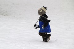 never walk when there is room for running... (manywinters) Tags: snow hat fun outside monkey fight day play maryland nephew surprise snowball