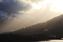 After the Rain (Donald Beaton) Tags: new eve uk winter cloud sun sunlight mist snow rain forest canon landscape scotland highlands europe view escocia glen hills years rays sitka loch viewpoint orchy spruce mountians schottland ecosse a82 tulla 450d 55250