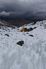 Stormy high camp on El Condor
