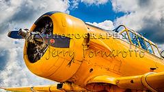 Old Yeller (Jerry Fornarotto) Tags: world classic yellow closeup plane canon army newjersey war antique wwii navy ii ww2 parked airlplane trainingaircraft snjtexan yellowplane canon2470mmlens canon1dmarkiv greenwoodlakeairshow copyright2012 jerryfornarotto