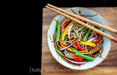 Buckweat noodles (soba) with chicken and vegetables (Katty-S) Tags: food chicken vegetables dinner asian mushrooms chopsticks noodles soba