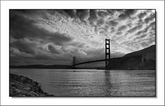 Golden Gate In Black And White (Randall Beetle Photography) Tags: sanfrancisco california bridge bw usa white black clouds golden bay gate sausalito0