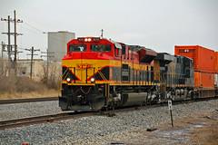 KCS IVNKC runs North. (Machme92) Tags: railroad clouds rail trains rails ge railroads csx kcs railroading emd railfanning gevo railfans