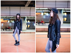 Ajda (pmhp) Tags: street portrait cute girl leather fashion photography photo model shoot sweden stockholm style clothes jacket photograph centralen
