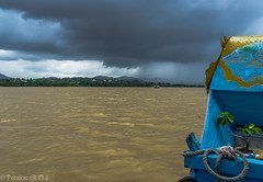 Storm over the Perfume River at Hue, Vietnam (Peraion) Tags: blue sky storm water rain yellow clouds river boat asia vietnam hue perfumeriver infinitexposure