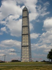 Washington Monument in scaffolding, viewed from the west (SchuminWeb) Tags: park west monument metal stone mall dc washington earthquake construction day scaffolding ben nps stones district steel web parks columbia september national repair obelisk damage restored scaffold service restoration daytime obelisks monuments washingtonmonument nationalparkservice georgewashington restoring scrim 2013 schumin schuminweb