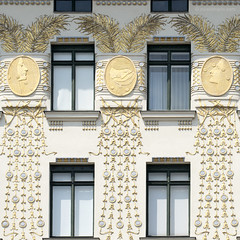 art nouveau, vienna (ewaldmario) Tags: vienna wien blue windows portrait white building window leaves yellow architecture composition facade square gold austria design sterreich nikon gesicht europe stuck fenster details palm artnouveau ornament ornaments architektur tele artdeco shield weiss architettura naschmarkt fassade d800 jugendstil quadrat mariahilf verzierung wienzeile palmwedel pflanzenteile ewaldmario ewaldmariocom facemedal