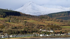 Goat Fell Overlooking Lamlash on Arran (Dave Russell (1.5 million views thanks)) Tags: lamlash village town isle island arran goat fell mountain west western scotland clyde landscape outdoor snow hill top corbett slope slopes scene scenery view vista scape