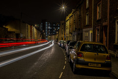 Downtown..... (Dafydd Penguin) Tags: night shots after dark light trails slow shutter speed long exposure tripod cuity urban car city bristol hitwells road nikon df nikkor 35mm af f2d