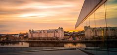 Sunset over the City (Ajnaraja) Tags: bracketing oslo longexposure opera hdr house huset light architecture sunset sky filter