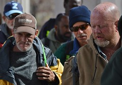 These three men were among the crowd lined up for a free lunch being served by two church groups in Denver. (desrowVISUALS.com) Tags: economics economy poverty poorpeople austerity economiccrisis poor
