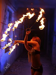 Anna Dazzling's fire performance (SpirosK photography) Tags: spiroskphotography sanatorio parnitha athens greece αθήνα ελλάδα σανατόριο abandoned back faceless fire fireshow fireperformer fireperformance annadazzling anjadazzling