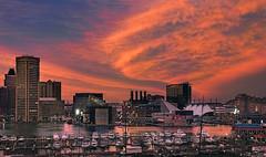 Baltimore City Sunset (zuni48) Tags: baltimore sunset dusk evening cityscape lightcitybaltimore innerharbor harborplace clouds marina architecture