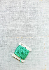 A lot of space to fill - Explored! (Monceau) Tags: white space morewhite turquoise embroidery floss empty cloth odc explore explored minimalism minimalist minimal