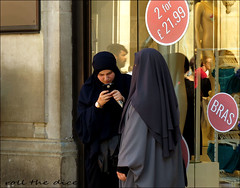 `1949 (roll the dice) Tags: london westminster w1 westend oxfordstreet streetphotography bra knickers burka burqa niqab veiled face covered surreal moment funny sad mad reflection glass sign window people natural fashion shops shopping pretty sexy girls sale eyes portrait candid strangers hot sunny weather sweaty mobile phone talk muslim religion