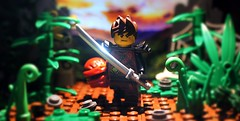Glint of the sword in the flaming eyes. (Mike LEGO) Tags: lego toys ninjago kai ninja minifigure photography shot light blink fire bricks