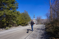 Trail in Old Chelasea (lezumbalaberenjena) Tags: old chelsea gatineau quebec spring time springtime primavera dog perro chien chiot boston terrier bully church iglesia st stephens