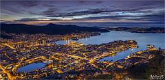 Bergen Winter Blues, Norway (AdelheidS Photography (at work in Scandinavia now)) Tags: adelheidsphotography adelheidsmitt adelheidspictures norway norge noorwegen norwegen noruega norvegia nordic norvege norden bluehour blue skyline cityscape city canoneos6d bergen evening sunset scandinavia citylights