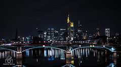frankfurt_skyline (Marcel Huth) Tags: deutschland germany frankfurt skyline nacht night reflexion fluss rhein river beleuchtung colorful wolkenkratzer hochhaus skyscaper abend brücke hessen wasser stadt banken