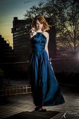 Wonder Women - Becki (5) (FightGuy Photography) Tags: becki bluedress crystalcity naturallight va strobist sword saber weapon blade redhead blue heels lensflare flare