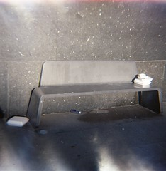 bench (rotabaga) Tags: göteborg gothenburg sverige sweden diana lomo lomography lomography400 ljusläckage lightleaks expiredfilm expired mediumformat mellanformat 120 6x6 götaplatsen