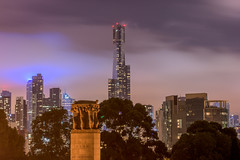 20170313_Sinister_City_0001 (jnspet) Tags: australia melbourne cityscape nightphotography night nightsky moody sinister eurekabuilding cenotaph clouds cloudy lowclouds colorful