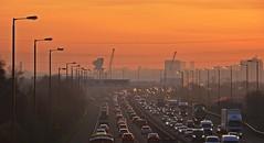 Going Nowhere (Bricheno) Tags: sunrise glasgow motorway m8 cars vans lorries cranes highflats hillington shieldhall diageo bricheno scotland escocia schottland écosse scozia escòcia szkocja scoția 蘇格蘭 स्कॉटलैंड σκωτία rushhour