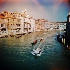 Grand canal - lomo 1 (sonofwalrus) Tags: holga film lomo lomography scan venice italy europe venezia italia xpro xprocessing canal water boats gondola grandcanal