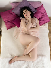 Holly x Gigi #6 (Bruce M Walker) Tags: overhead bed woman pinup vintagelingerie vintage cushions lipstick nightie legs curves curvy