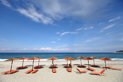Choose freely (Elios.k) Tags: horizontal outdoors nopeople sea beach clear weather sky blue greek clouds umbrellas beachumbrella bed beachbed shadow empty notourists sunny colorful turquoise travel travelling september 2016 summer vacation canon 5dmkii camera photography colour color papanero παπάνερό agiosioannis άγιοσιωάννησ πήλιο pelion thessaly aegeansea greece ελλάδα