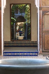 moroccan selfie (diminoc) Tags: palaisbahia marrakech morocco palace islamicgeometry fountain tiles arch mirrir reflection selfie
