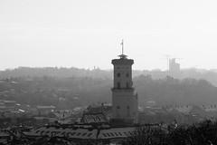 Town Hall Tower in Lviv, Ukraine (tarmo888) Tags: sel18200 sonyalpha sonyα nex7 geotaggedphoto geosetter sooc photoimage фотоfoto year2017 special snow lumi снег ukraine україна ukrayina украи́на украина lviv lwów lvov lemberg львів львов leopolis lwow highcontrastmonochrome pictureeffect unesco