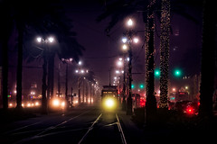 last stop (JimfromCanada) Tags: streetcar transport transportation tram night commute evening neworleans city track rail mist misty fog foggy light headlight quiet dark canalstreet canal road street