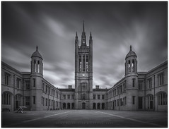 Marischal College Courtyard (LoneWolfA7ii) Tags: monochrome bw blackandwhite building aberdeen art a7ii architecture longexposure scotland sony sky clouds granite