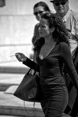 Strangers - Everybody looks at her (R.D. Gallardo) Tags: canon eos 6d raw retrato robado bw blanco black bn bilbao negro white woman mujer sexy mina smoke smoking fumando cigar look her