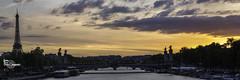 Alexandre III Pano (Lonely Soul Design) Tags: panorama alexandre iii bridge paris sunset eiffel tower sky clouds la seine river