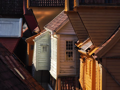 Dormers of Bryggen catch the morning sun (creditflats) Tags: roof dormer wood siding tile bergen bryggen norway unesco world heritage olympus pen ep5 telephoto yellow glow morning sun window building compressed nik