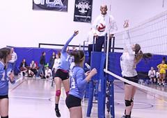 IMG_2629 (SJH Foto) Tags: girls volleyball teen teenager team quickset storm u14s net battle spike block action shot jump midair