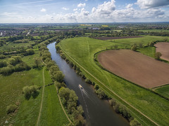 Rush hour... (Kerriemeister) Tags: aerial photography drone phantom phantom3 pro sky river ouse york fields trees narrow boat tranquil