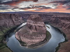 Horseshoe Bend (Michael Zahra) Tags: usa america page arizona southwest horseshoe bend river sunset sunrise clouds sky camper camping landscape water arid desert cliff navajo dine color colour native reservation horseshoebend