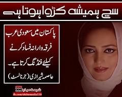 پاکستان میں سعودی عرب فرقہ وارانہ فساد کرنے کیلئے فنڈنگ کرتا ہے۔ عاصمہ شیرازی(جرنالسٹ) https://www.facebook.com/ShiiteMedia110 (ShiiteMedia) Tags: shiite media shia news pakistan killing شیعہ نسل کشی aein abbas admin