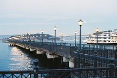 Reflecting Pier (j.farrimond) Tags: film blue pacific sanfrancisco evening sunset lights haze mist reflection