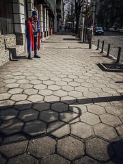 Modern superhero (Melissa Maples) Tags: софия sofia българия bulgaria europe apple iphone iphone6 cameraphone winter costume hexagons pavement bulgarian footballfan man