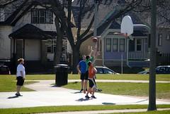Basketball at Kilbourn Park, Milwaukee (Cragin Spring) Tags: midwest unitedstates usa unitedstatesofamerica wisconsin wi city urban milwaukee milwaukeewi milwaukeewisconsin house home park kilbournpark people basketball hoops