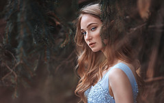 Frederika (Crimson Photography) Tags: girl woman freckles bluedress trees forest