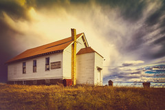 Grand Coulee Grange (KPortin) Tags: lincolncounty grangehall abandoned outhouse windows clouds easternwashington