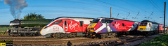 4 Trains, History was made as the Flying Scotsman steam locomotive, an HST, a 225 electric unit and one of the new Azuma trains run south side by side on all four tracks on the East Coast Mainline north of York on the 23rd of April 2017 (dave hudspeth photography) Tags: trains virgin eastcoast rialway steam train diesel electric iconic famousfast britishrail york yorkshire nrm smoke oil water coal